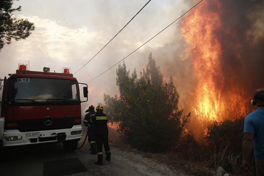Wildfire in Penteli Mountain in Athens